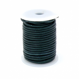 DQ rond leer 3mm - 1 meter - kleur DARK EMERALD (no. 03/10)