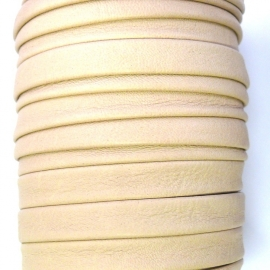 DQ platte leerband 10mm breed soft nappa leather 2-sided kleur creme - 20cm