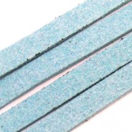 imitatie suede veter 5mm breed 90 cm lang kleur lichtblauw (BJ254)