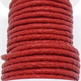 DQ 4mm rondgevlochten Buffel Leather - kleur RED 20cm (BRGL-4-07)