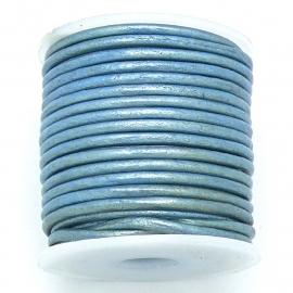 DQ rond leer 2mm - 1 meter - kleur metalic ice blue (BRL-02-29)