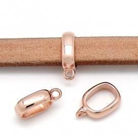 DQ metaal Rose Goud kraal met oog 5x17mm voor REGALIZ leer gat maat 7x10mm (B01-051-RG)