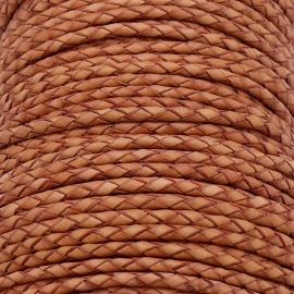 DQ 3mm rondgevlochten soft leather- kleur vintage peach - 20cm (BRGL-3-06)