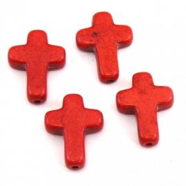 kraal keramiek kruisje 12x16mm gat 1mm kleur rood (BJ309)