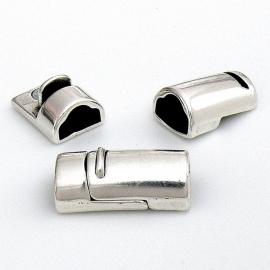 DQ metaal magneetsluiting voor dubbel gestikt leer met buis maat 13x25mm (gat 6x10mm) B07-045-AS