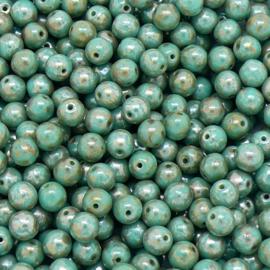 (BJBL-027) glaskraal rond 6mm kleur jade opal picasso - 18 stuks