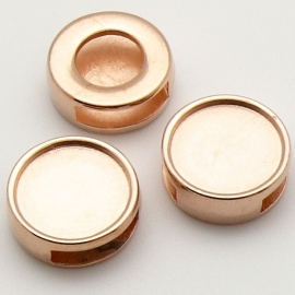 DQ metaal ROSE GOUD schuifkraal  rond 14mm voor platte steen 12mm voor leer 10mm (B04-027-RG)