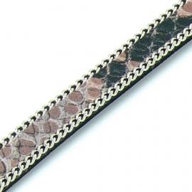 DQ professional platte leerband 10mm breed, circa 2mm dik,, 20cm lang snake rose met ketting (PL10-HLSCP-13)
