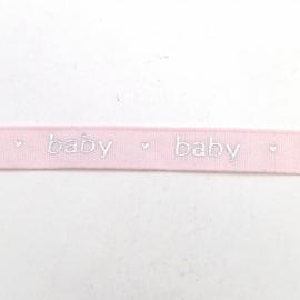 bedrukt lint 13mm breed 1m lang baby lichtroze