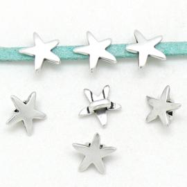 DQ metaal schuifkraal mini starfish maat 10x10mm gat 2x3mm (B04-190-AS)