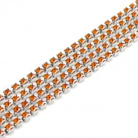 swarovski cupchain 27001 p18 setting Rhodium - kleur tangerine (prijs per 1 cm)