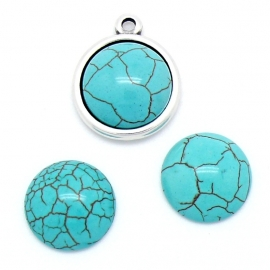 cabochon turquoise 20mm rond