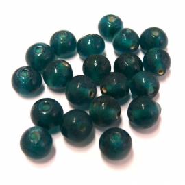 (BJBL-021) glaskraal rond 8mm blue zircon  - 10 stuks