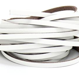 DQ leren band smal 5mm - 2,2 dik circa 100cm lang - kleur trend wit (PL05-008)