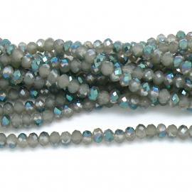 glaskraal rondel facet 4x6mm - streng van ongeveer 100 kralen (BGK-005-026) kleur opal grey diamond coating