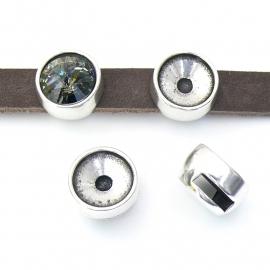 DQ metaal schuifkraal rond met setting voor Rivolli 12mm voor 10mm breed leer (gat 2,5x10mm) (B04-110-AS)