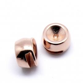 DQ metaal ROSE GOLD schuifkraal rond voor ss39 voor 10mm breed leer (gat 2,5x10mm) (B04-011-RG)