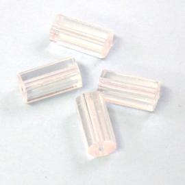 (BJW018) glaskraal crystal buisje met ribbel 6x12mm