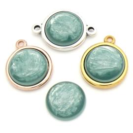 cabochon polaris pearl rond 20mm kleur Jade (CAB-20-015)