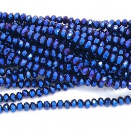 glaskraal rondel facet 6x8mm - streng van ongeveer 72 kralen (BGK-006-011) kleur Metalic Blue