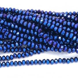 glaskraal rondel facet 3x4mm - circa 148  kralen (BGK-004-011) kleur Metalic Blue