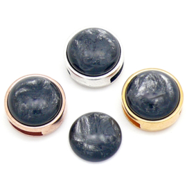 polariscabochon pearl 12mm - kleur shine dark grey (CAB-12-029)