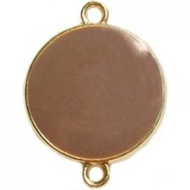 GOUD tussenzetsel rond kleur taupe - beide zijde gekleurd (BK16996)