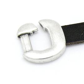 DQ metaal haaksluiting voor 10mm plat leer - maat 22x22.5mm - gat 2.5x10mm (B07-122-AS)