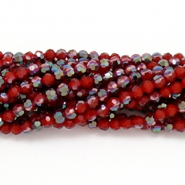 glaskraal rond facet 4mm - circa 98 kralen (BGK-001-022) kleur red diamond coating