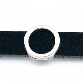 DQ metaal schuifkraal voor 10mm breed leer - letter O - maat 14x14mm - gat 2,5x10mm (B04-082-AS)