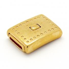 DQ metaal GOUD magneetsluiting dots voor 10mm plat leer gat 2,5x10mm (B07-061-SG)