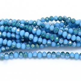 glaskraal rondel facet 6x8mm - streng van ongeveer 72 kralen (BGK-006-016) kleur sea blue diamond coating