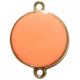 GOUD tussenzetsel rond kleur oranje - beide zijde gekleurd (BK16999)