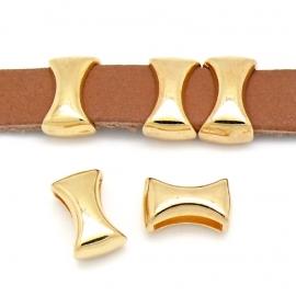 DQ metaal GOUD schuifkraal diabolo voor 10mm plat leer (B04-015-SG)