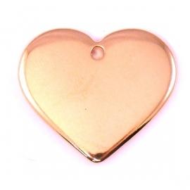 DQ metaal ROSE GOUD bedel massief hart 25x30mm (B02-040-RG)