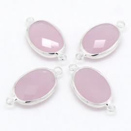 Ovale tussenzetsel met facetgeslepen glassteen met zilveren rand - maat 13x25mm - kleur rose opal
