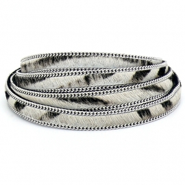 DQ professional platte leerband 10mm breed, 20cm lang vacht zebra met ketting (PL10-HLSCP-10)
