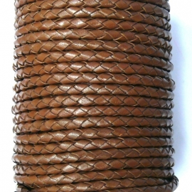 DQ 4mm rondgevlochten Goat Leather (SE/B/07) brown - 20cm
