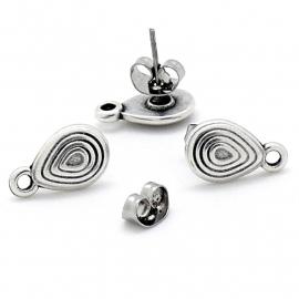 DQ metaal oorbel oorsteker met druppelvorm spiraal en oogje per paar (B05-034-AS)