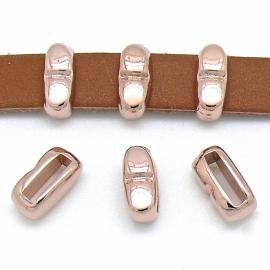 DQ metaal ROSE GOUD schuifkraal met streepje smal voor 10mm plat leer (B04-018-RG)