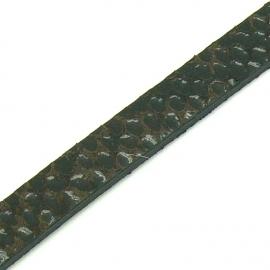 DQ professional platte leerband 10mm breed en 2,6mm dik, 20cm lang snake maroon (PL10-HLP-19)