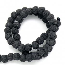 kraal van zandlava rond 8mm kleur zwart - 4 stuks