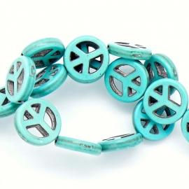 keramiek kraal peace 15mm kleur turquoise (KERT-10-15)