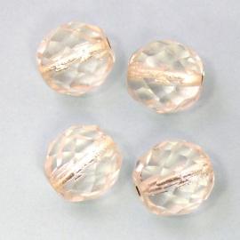 (BJW016) glaskraal crystal rond facet 10mm met zilverfoil kern