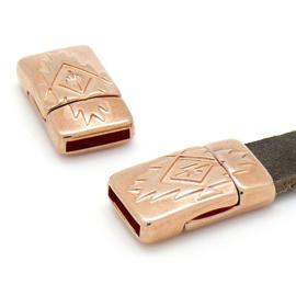 DQ metaal ROSE GOUD magneetsluiting bewerkt - 13x22.7mm, gat 2x10mm (BO7-089-RG)