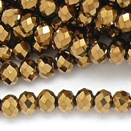 glaskraal rondel facet 6x8mm kleur metalic gold (BGK-006-009) - 35 stuks