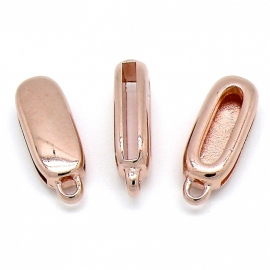 DQ metaal ROSE GOUD schuifkraal langwerpig met oogje voor 20mm breed leer 10,5x28mm (gat 2,5x20mm) (B04-020-RG)