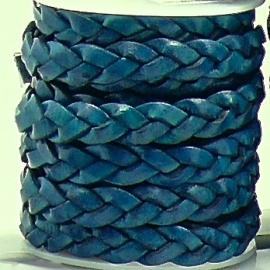 DQ platgevlochten leer 10mm breed kleur ROYAL BLUE - 20 cm (BPGL-10-08)