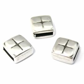 DQ metaal schuifkraal vierkant met kruis voor 10mm plat leer (B04-016-AS)