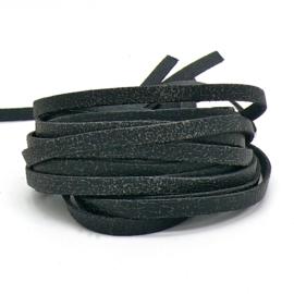 leren band smal 6mm dik ca.2mm ca. 90cm lang - kleur goby zwart (OL-04)